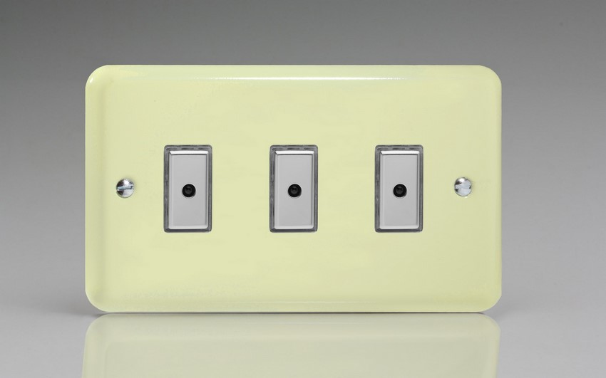 JYE103.WC Varilight V-Pro Series Eclique2 (Multi Point Remote), 3 gang Intelligent Programmable Master Dimmer, with Tactile Touch Button and Integrated Remote Control Sensor 0-100 Watts of LEDs (10 LEDs Max), Classic Lily White Chocolate