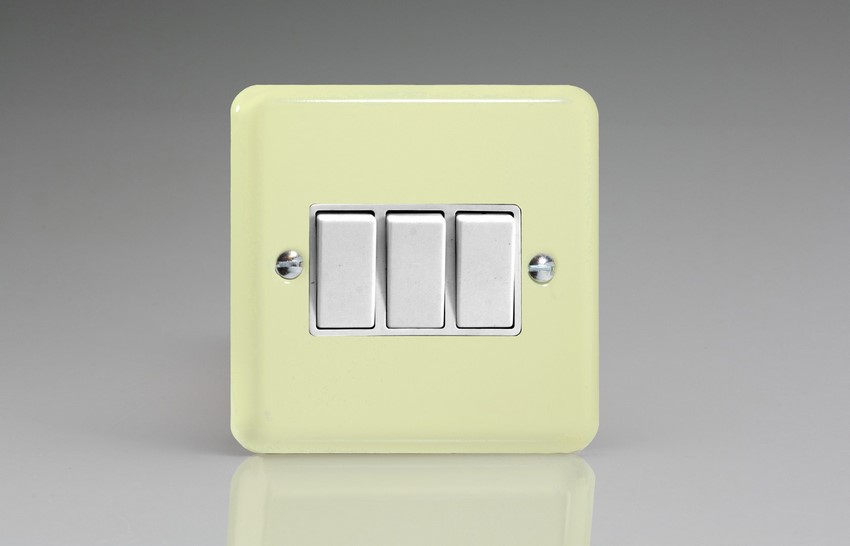 XY3W.WC Varilight 3 Gang (Triple), 1 or 2 Way 10 Amp Switch, Classic Lily White Chocolate