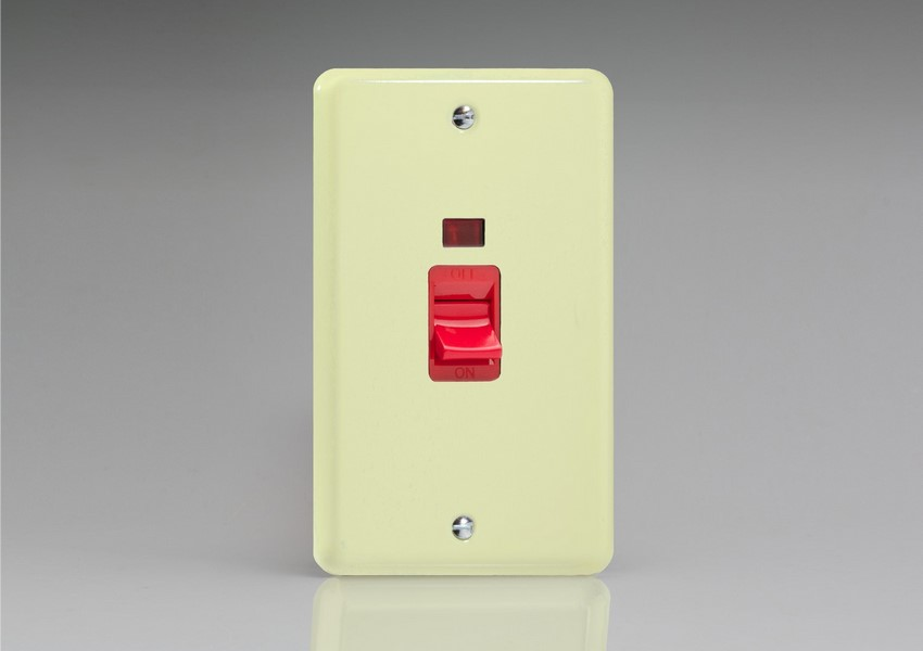 XY45N.WC Varilight 45 Amp Cooker Switch with Neon (Vertical Double Size), Classic Lily White Chocolate