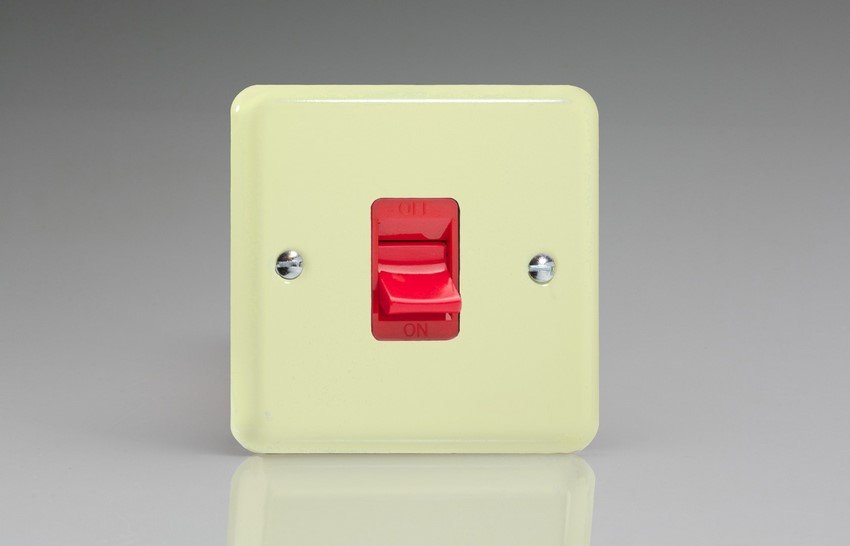 XY45S.WC Varilight 45 Amp Cooker Switch (Single Size), Classic Lily White Chocolate
