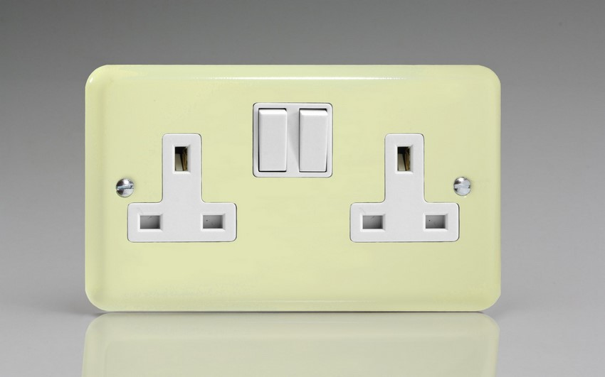 Varilight 2 Gang 13 Amp Double Pole Switched Socket Classic Lily White Chocolate