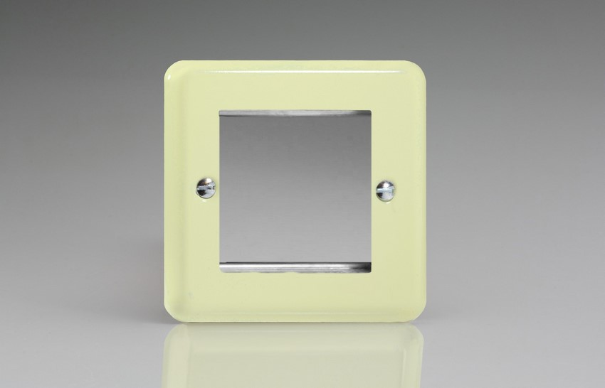 XYG2.WC Varilight Single Size Data Grid Face Plate For 2 Data Modules Width, Classic Lily White Chocolate