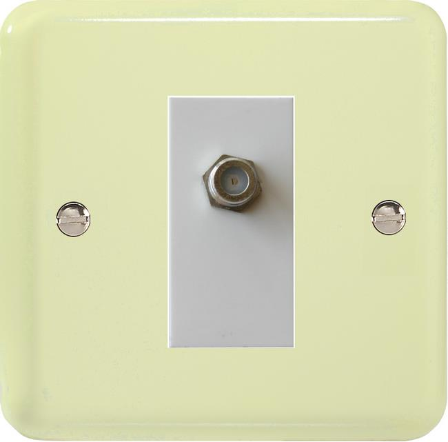 XYG8SW.WC Varilight 1 Gang (Single), Satellite TV Socket, Classic Lily White Chocolate with White insert