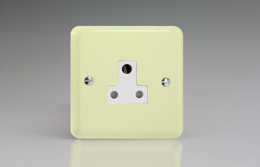 XYRP5AW.WC Varilight 1 Gang (Single), 5 Amp Round Pin Socket, Classic Lily White Chocolate