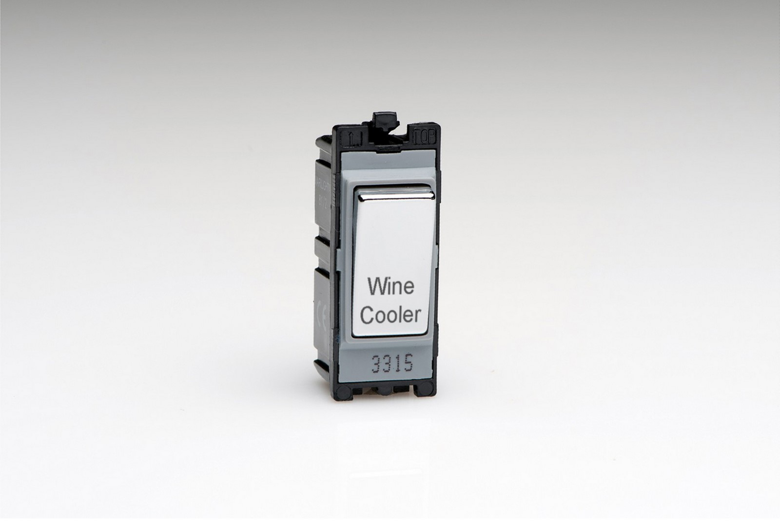 G201DC.WC 'Wine Cooler' Varilight 1 Way 20 Amp Power Grid Double Pole Switch Polished Chrome Engraved with 'Wine Cooler'