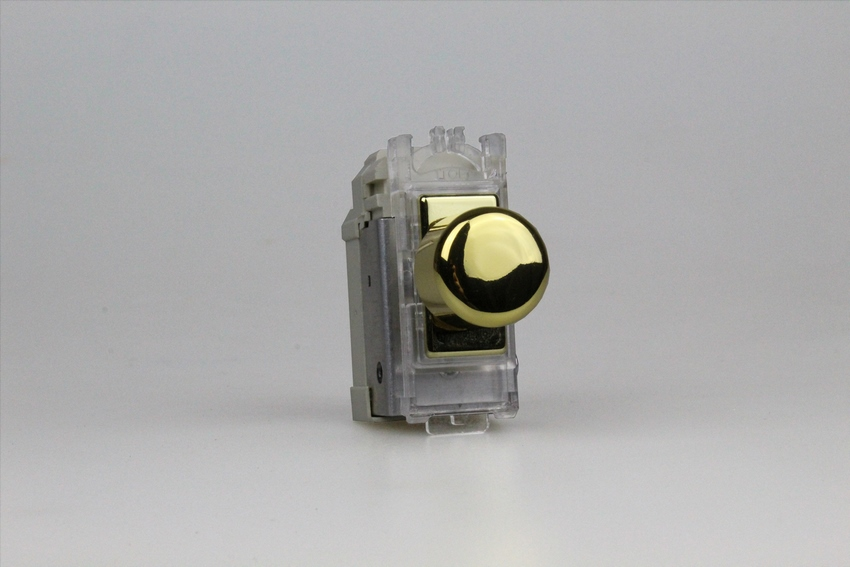 GJP100V is a 1 Gang (Single), 1 or 2 Way 200 Watt (Trailing Edge) Polished Brass Dimmer module for power grid plates.