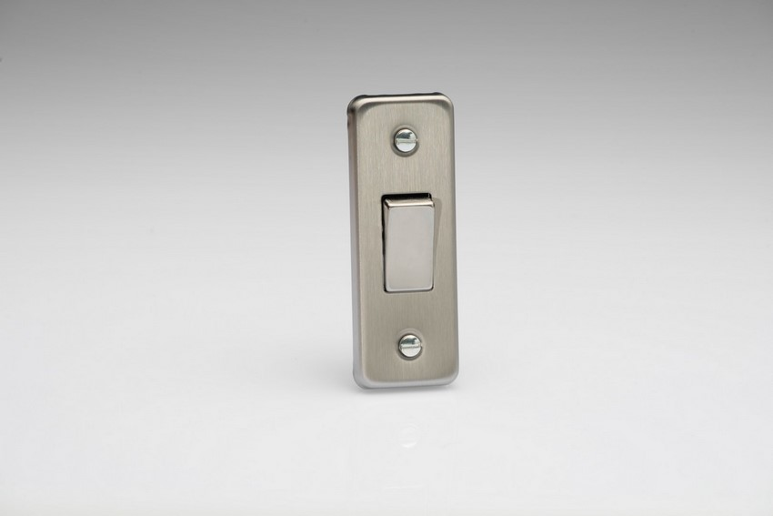 XSA1D Varilight 1 Gang, 1 or 2 Way 10 Amp Architrave Switch, Brushed Steel