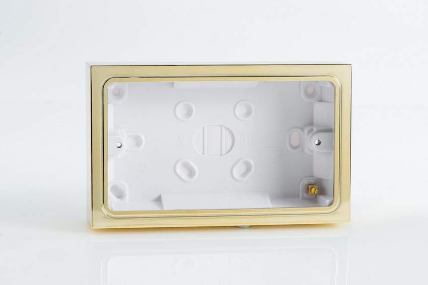 YBD.B Varilight 2 Gang (Double), Patress Wall Box (for surface mounting) Brass Effect Finish