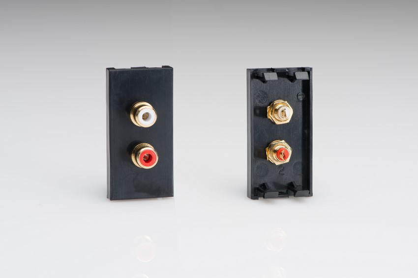 Z2GPH2B Varilight 2 Gang (Double), Phono (RCA) Module in Black with Two Female Phono Sockets. Use with Varilight Data Grid Plates