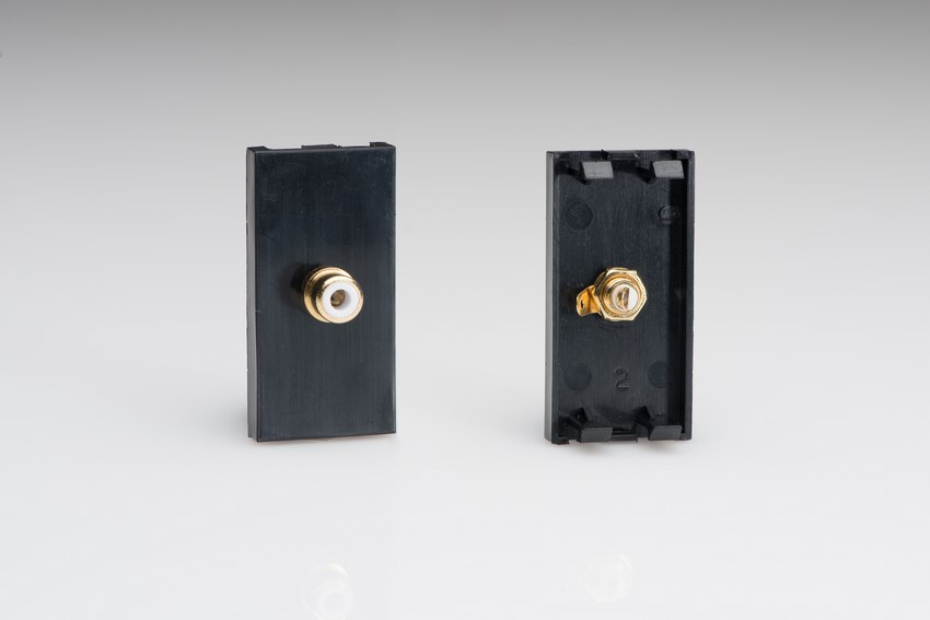 Z2GPHB Varilight Phono (RCA) Module in Black with one Female Phono Socket. Use with Varilight Data Grid Plates
