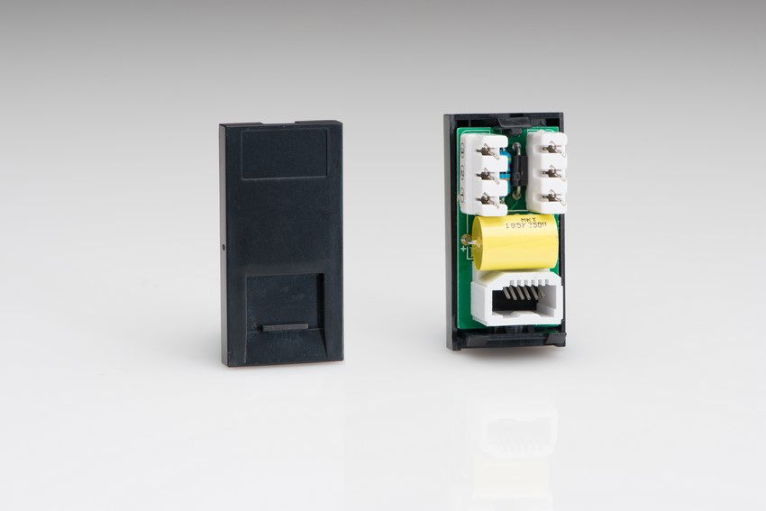 Z2GRJ11B Varilight RJ11 module in Black. Use with Varilight Data Grid Plates