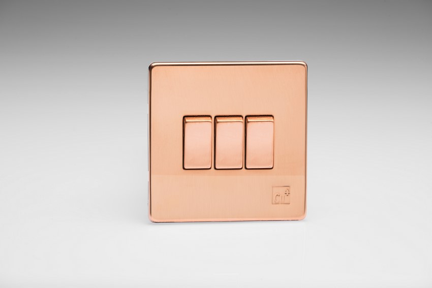 Varilight 3 Gang 10 Amp Switch Screwless AntiMicrobial Copper