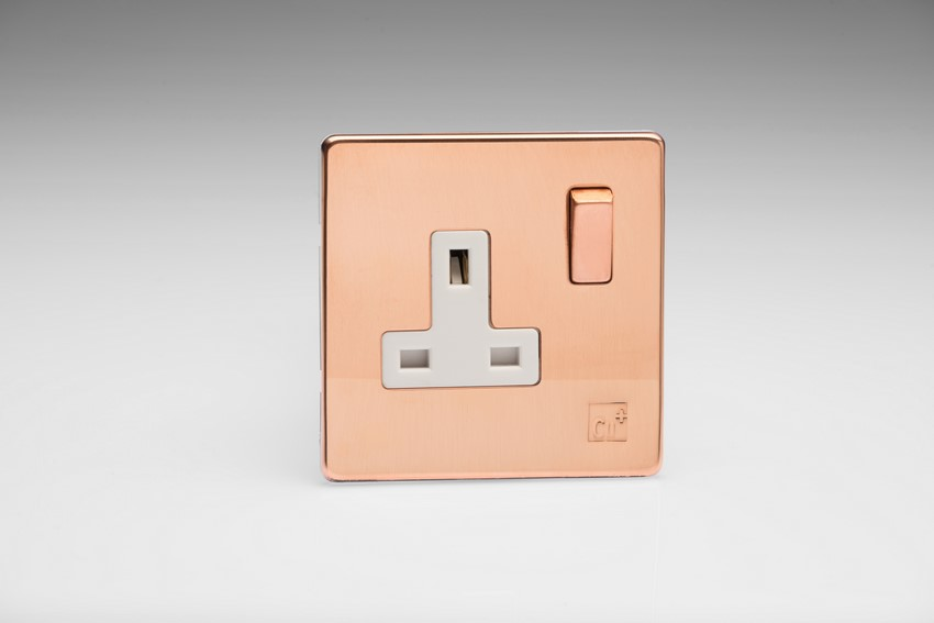 Varilight 1 Gang 13 Amp Double Pole Switched Socket Screwless AntiMicrobial Copper