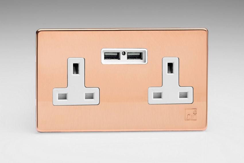 Varilight 2 Gang 13 Amp Single Pole Unswitched Socket with 2 Optimised USB Charging Ports Screwless AntiMicrobial Copper
