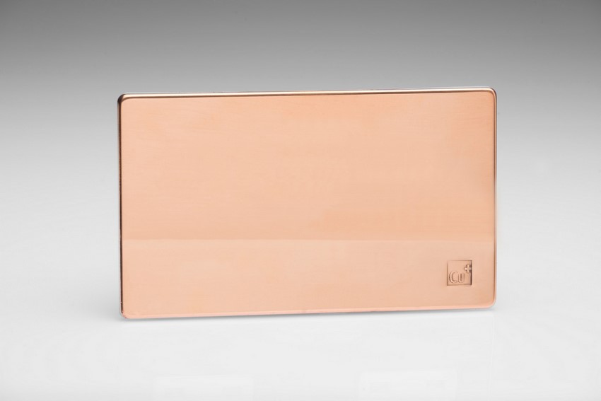 Varilight Double Blank Plate Screwless AntiMicrobial Copper