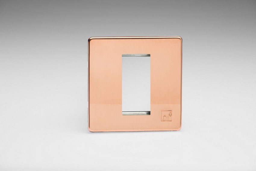 Varilight 1 Gang Data Grid Face Plate For 1 Data Module Width Screwless AntiMicrobial Copper