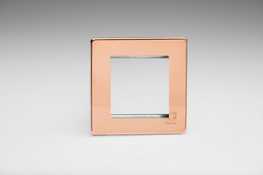 Varilight 2 Gang Data Grid Face Plate For 2 Data Module Widths Screwless AntiMicrobial Copper