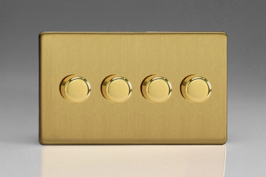HDB74S-SP Varilight V-Dim 4 Gang, 1 or 2 Way 4x120 Watt Dimmer For Energy Saving Lamps, Dimension Screwless Brushed Brass Effect. (Bespoke)