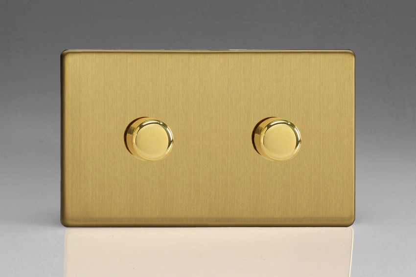 HDB62S Varilight V-Dim Series 2 Gang, 1 or 2 Way 2 x600 Watt Dimmer, Dimension Screwless Brushed Brass Effect