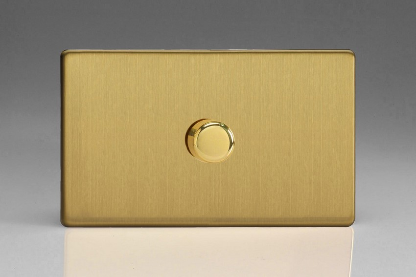 IDBDP1001S Varilight V-Plus Series 1 Gang 1 or 2 Way 1000 Watt/VA Dimmer on a Double Plate, Dimension Screwless Brushed Brass Effect