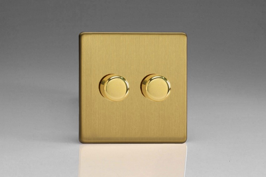 IDBP302S Varilight V-Plus 2 Gang, 1 or 2 Way 2x300 Watt/VA Dimmer, Dimension Screwless Brushed Brass Effect
