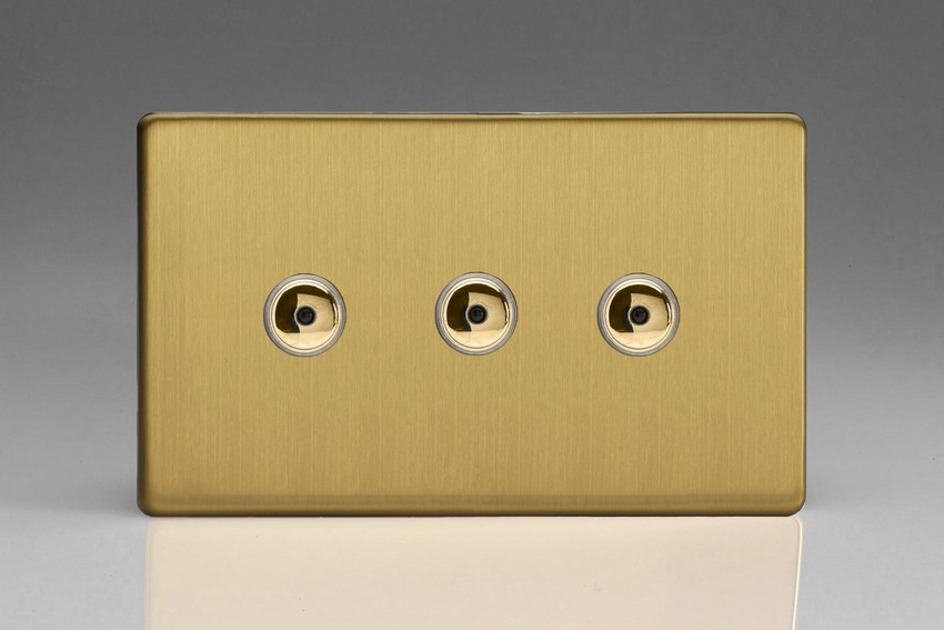 IJDBI103S Varilight V-Pro IR Series, Intelligent Programmable Master Dimmer, with Touch Sensitive Button and Centralised Remote Control Sensor - 3 gang, 0-100 Watts of LEDs, Dimension Screwless Brushed Brass Effect