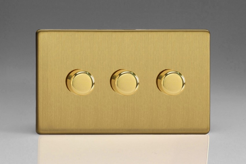 JDBDP503S Varilight V-Pro Series, 3-Gang 2-Way Push-On/Off Rotary LED Dimmer 3 x 10-250W (Max 30 LEDs) (Twin Plate), Dimension Screwless Brushed Brass Effect