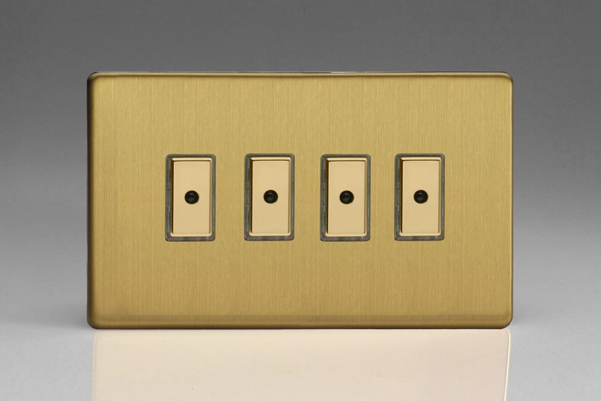 JDBE104S - Varilight V-Pro Series Eclique2, 4 gang Intelligent Programmable Master Dimmer, with Tactile Touch Button and Integrated Remote Control Sensor 0-100 Watts of LEDs (10 LEDs Max), Dimension Screwless Brushed Brass Effect