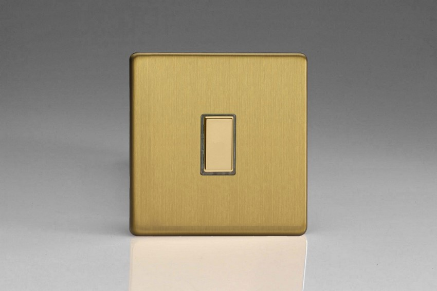 V-Pro Multi Point Tactile Touch Slave (MP Slave) Series 1 Gang Unit for use with V-Pro Multi Point Remote Master Dimmers Screwless Brushed Brass