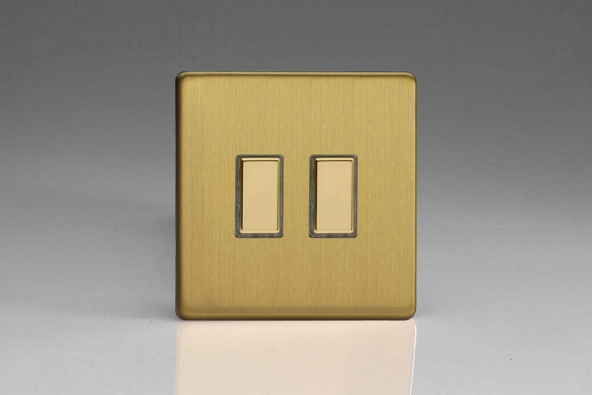 V-Pro Multi Point Tactile Touch Slave (MP Slave) Series 2 Gang Unit for use with V-Pro Multi Point Remote Master Dimmers Screwless Brushed Brass