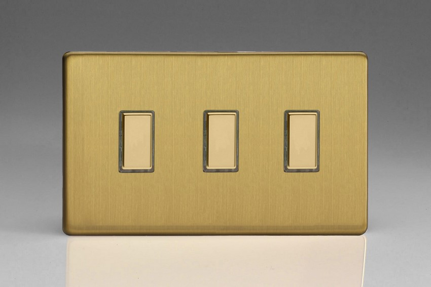 V-Pro Multi Point Tactile Touch Slave (MP Slave) Series 3 Gang Unit for use with V-Pro Multi Point Remote Master Dimmers Screwless Brushed Brass