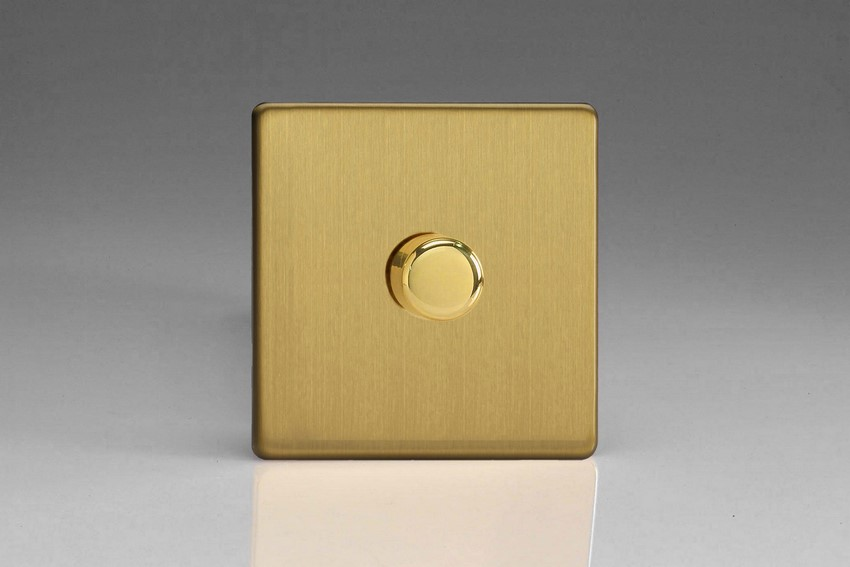 KDBP221S Varilight V-Com Series 1 Gang, 1 or 2 Way 30-220 Watt Commercial LED Dimmer, Dimension Screwless Brushed Brass