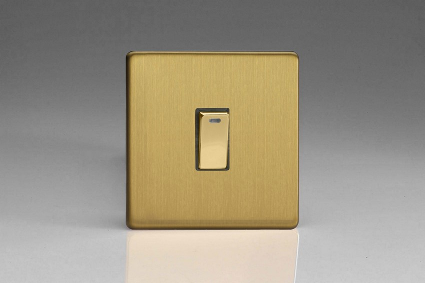 XDB20NDS Varilight 1 Gang (Single), 20 Amp Double Pole Switch with Neon, Dimension Screwless Brushed Brass Effect