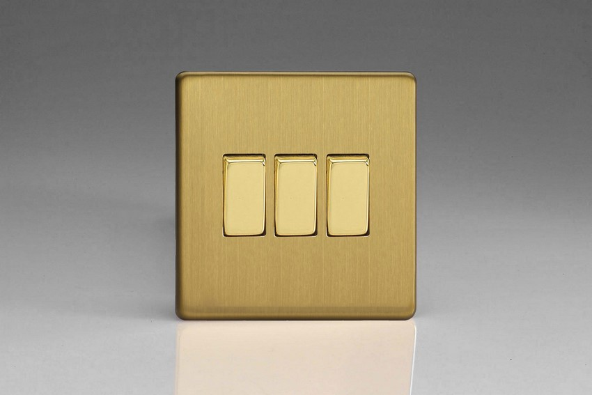 Varilight 3 Gang 10 Amp Switch Screwless Brushed Brass