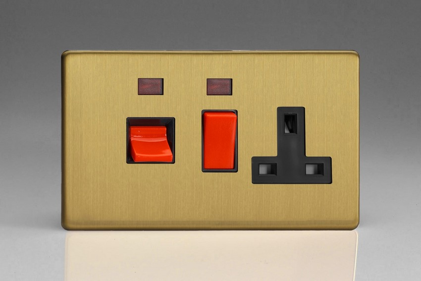 XDB45PNBS Varilight 45 Amp Cooker Panel with 13 Amp Switched Socket and with Neon (Horizontal Double Size), Dimension Screwless Brushed Brass Effect
