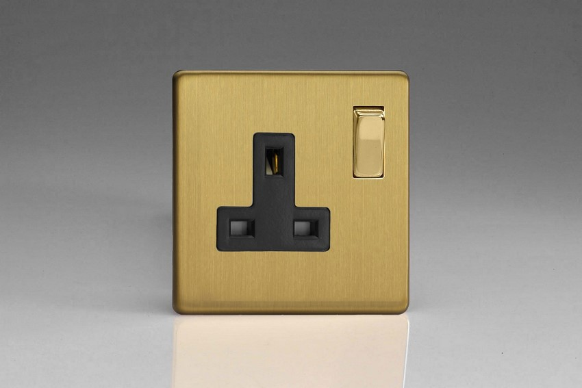 XDB4BS Varilight 1 Gang (Single), 13 Amp Switched Socket, Dimension Screwless Brushed Brass Effect