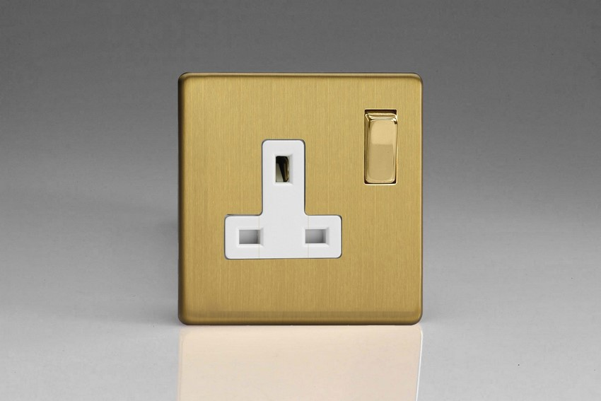 Varilight 1 Gang 13 Amp Double Pole Switched Socket Screwless Brushed Brass