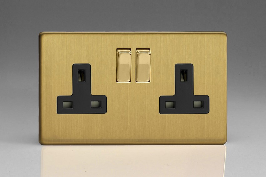 XDB5BS Varilight 2 Gang (Double), 13 Amp Switched Socket, Dimension Screwless Brushed Brass Effect