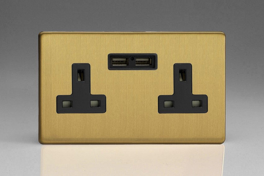 XDB5U2BS Varilight 2 Gang, 13 Amp Unswitched Socket with 2 Optimised USB Charging Ports, Black Insert. Dimension Screwless Brushed Brass Effect