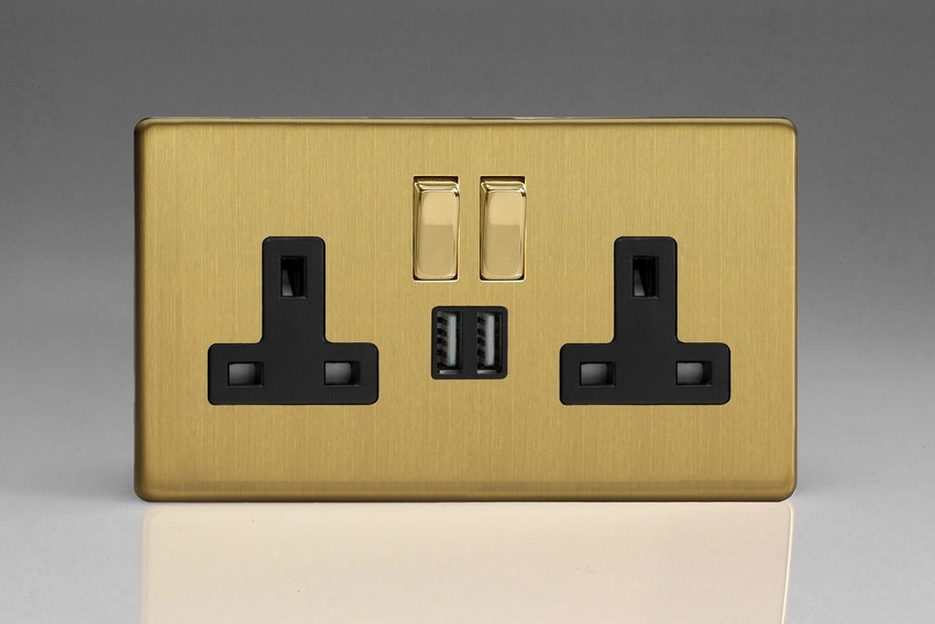 XDB5U2SBS Varilight 2 Gang 13A Single Pole Switched Socket + 2 x 5V DC 2100mA USB Charging Ports, Black Insert & Polished Brass Switches. Dimension Screwless Brushed Brass Effect