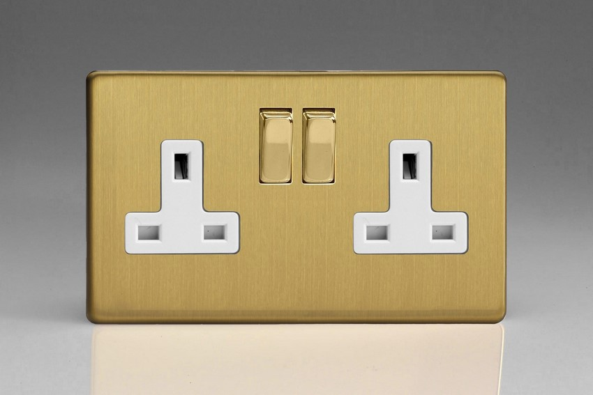 XDB5WS Varilight 2 Gang (Double), 13 Amp Switched Socket, Dimension Screwless Brushed Brass Effect