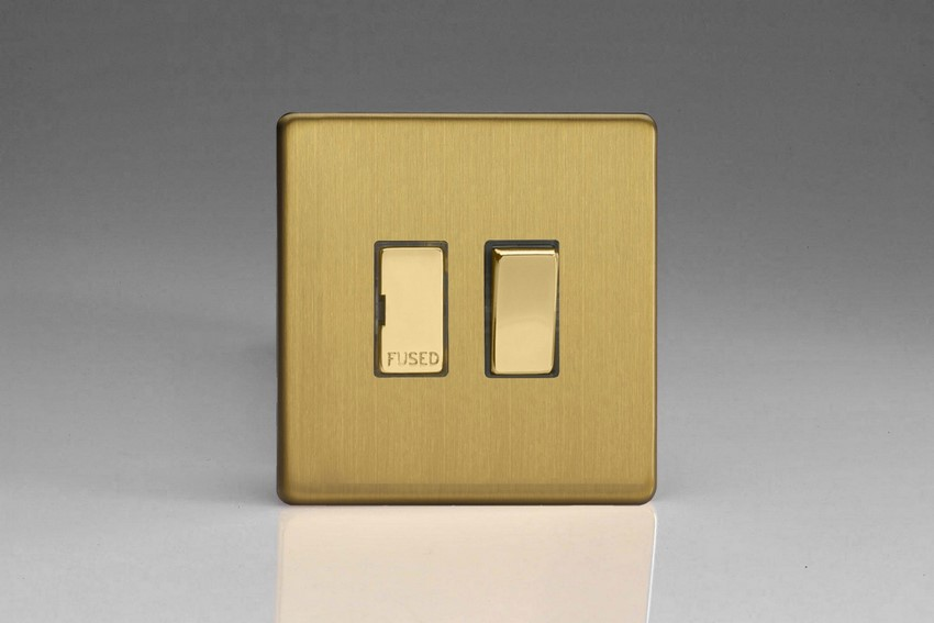 XDB6DS Varilight 1 Gang (Single), 13 Amp Switched Fused Spur, Dimension Screwless Brushed Brass Effect