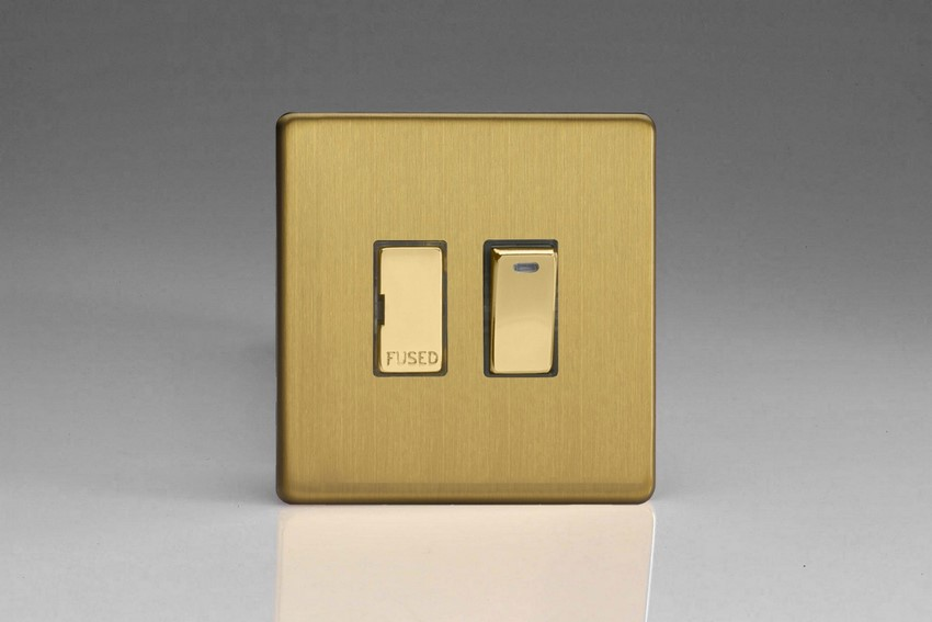 Varilight 1 Gang 13 Amp Double Pole Switched Fused Spur with Neon Screwless Brushed Brass
