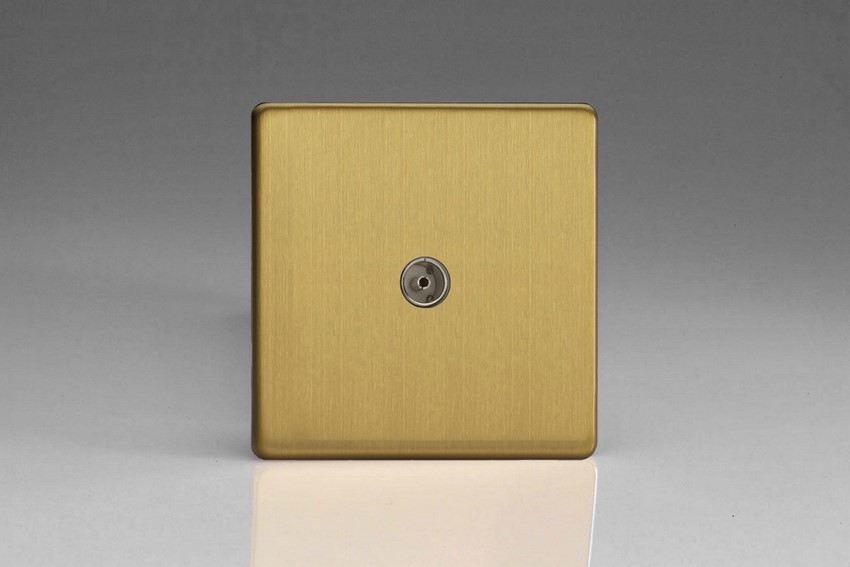 XDB8S Varilight 1 Gang (Single), Co-axial TV Socket, Dimension Screwless Brushed Brass Effect