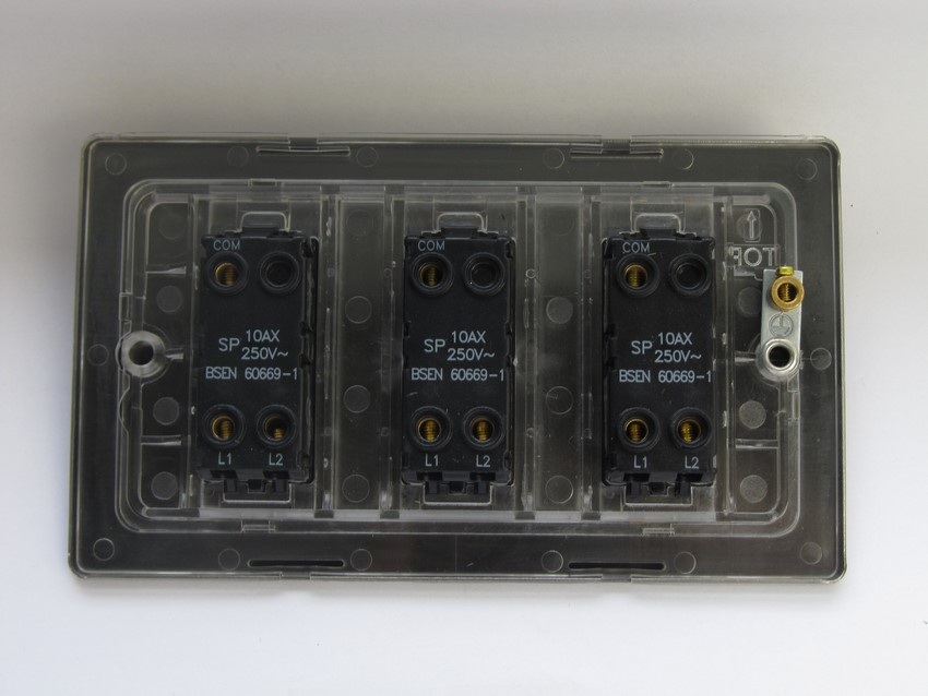 XDB93S Varilight 3 Gang, 1or 2 Way 10 Amp Switch on a Double Plate, Dimension Screwless Brushed Brass Effect