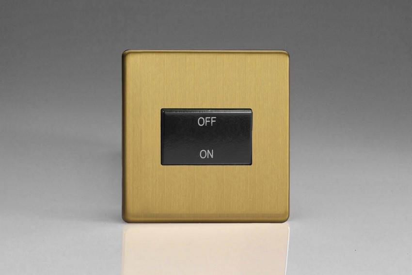 XDBFIBS Varilight 10 Amp Fan isolating Switch (3 Pole), Dimension Screwless Brushed Brass Effect
