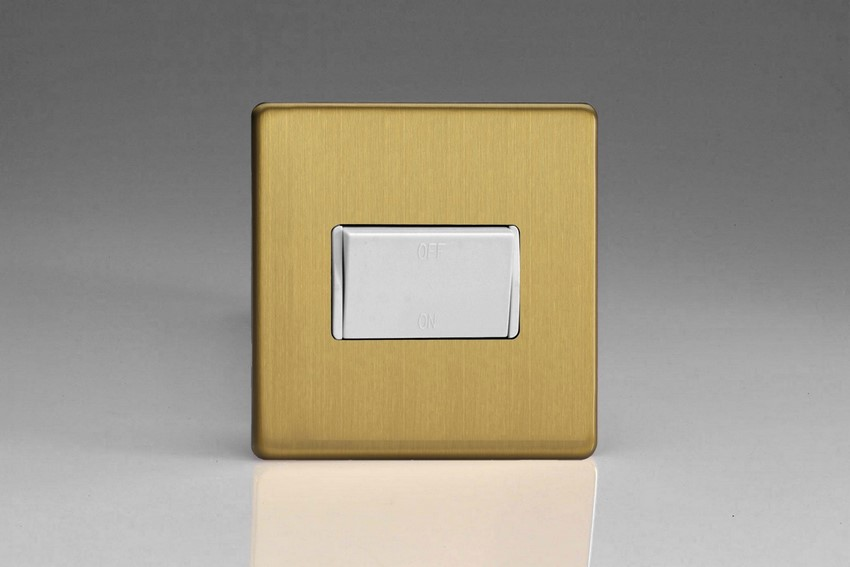 Varilight Fan Isolating 10 Amp Triple Pole Switch Screwless Brushed Brass