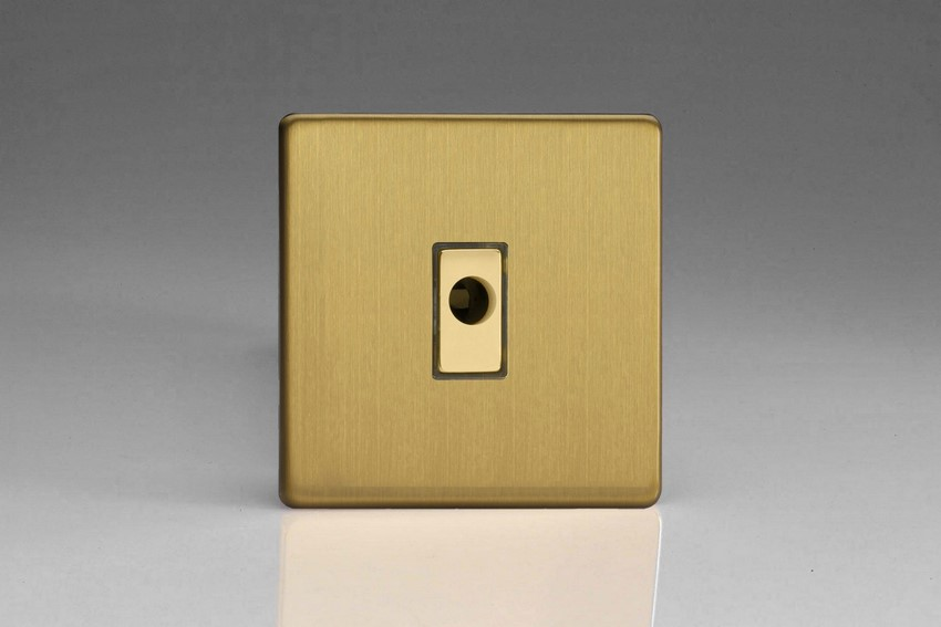 XDBFODS Varilight Flex Outlet Plate with Cable Clamp, Polished Brass Effect insert, Dimension Screwless Brushed Brass Effect