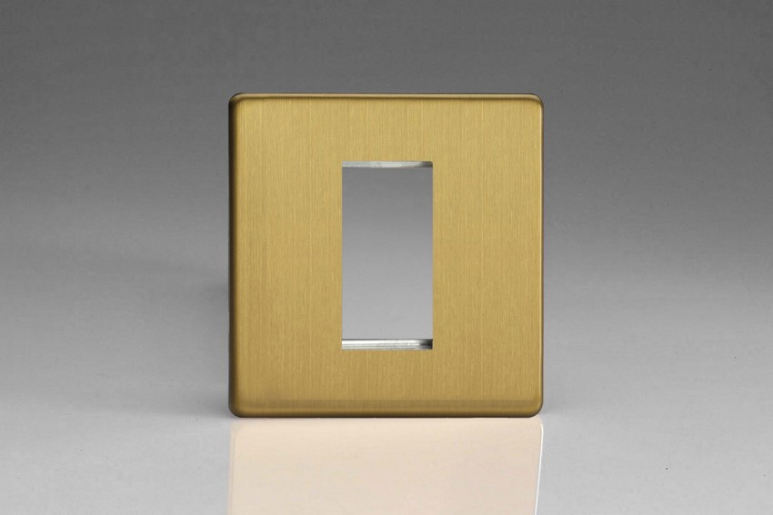XDBG1S Varilight Single Size Data Grid Face Plate For 1 Data Module Width, Dimension Screwless Brushed Brass Effect