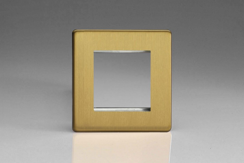 Varilight 2 Gang Data Grid Face Plate For 2 Data Module Widths Screwless Brushed Brass